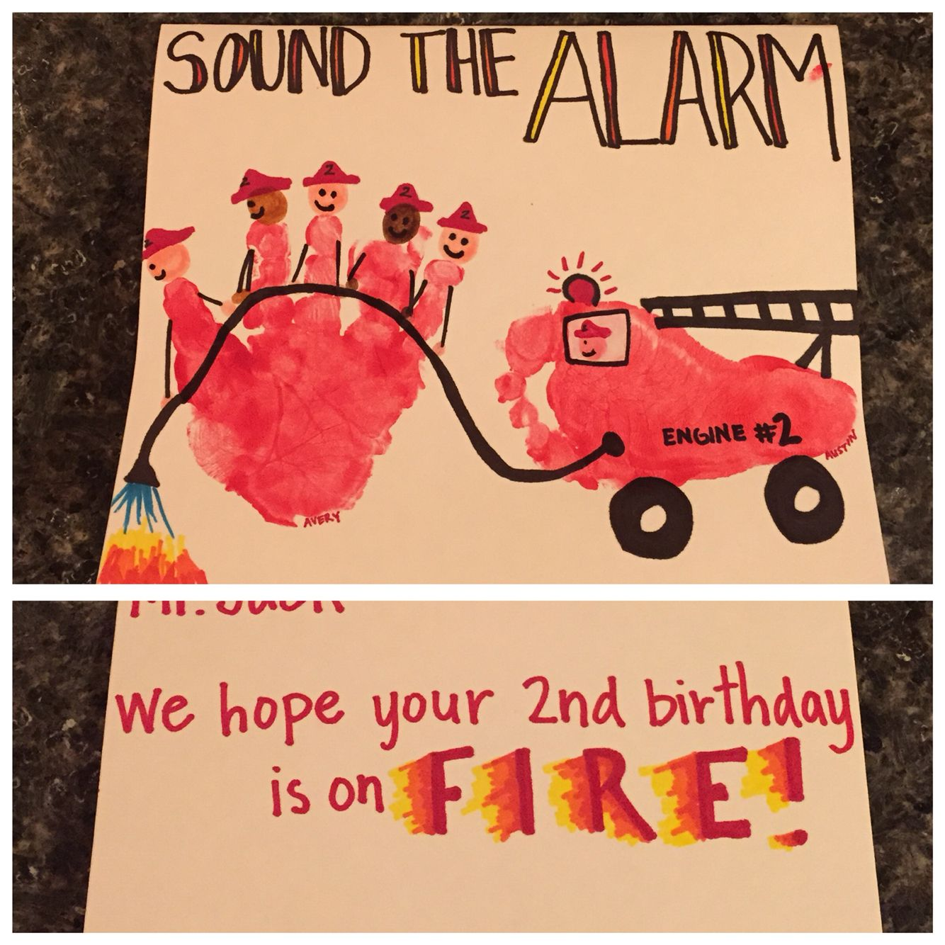 Firefighter birthday card! Firefighter handprint and fire truck ...