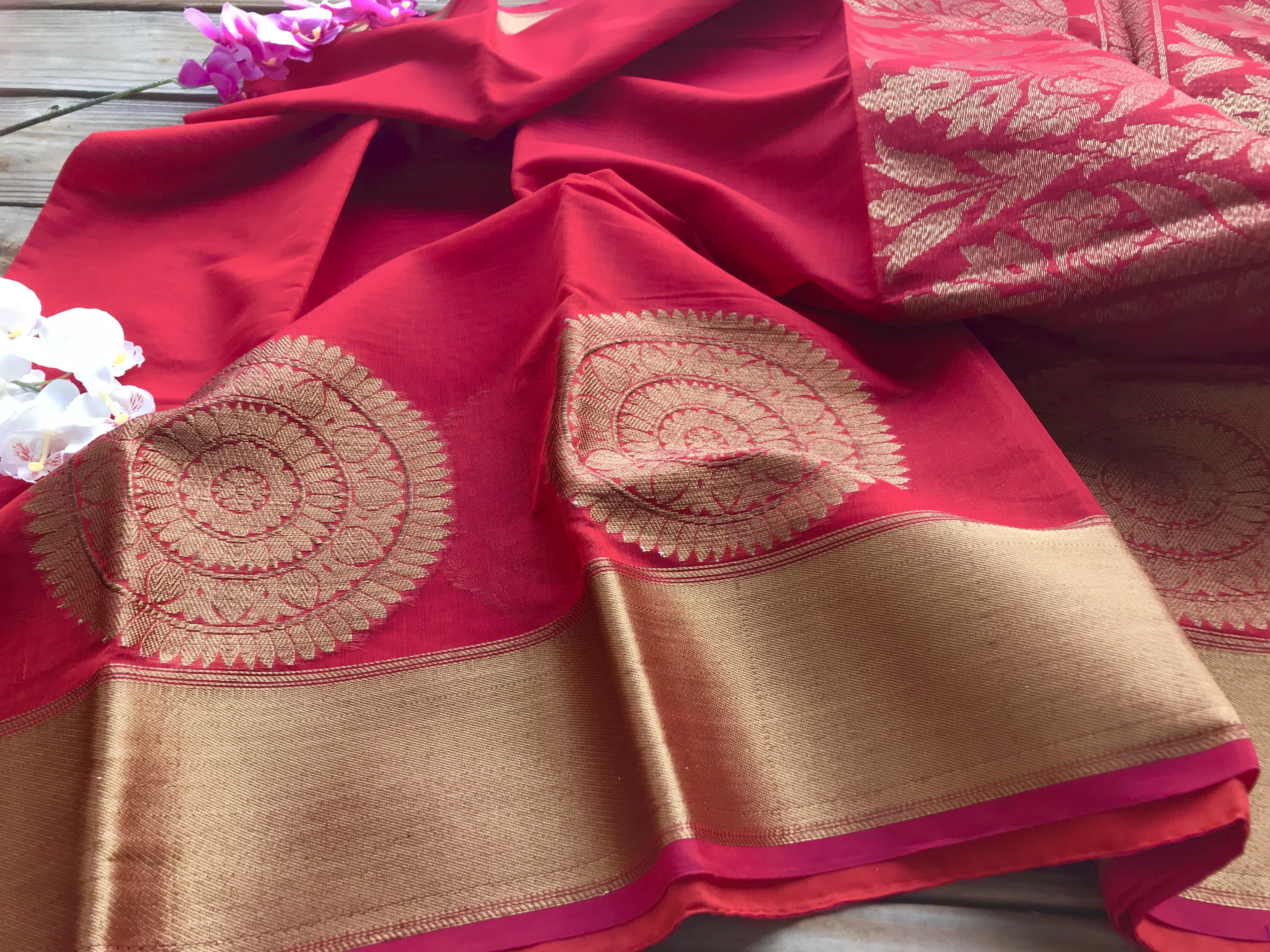 Pure Cotton Banarasi Saree in Red and Gold Women