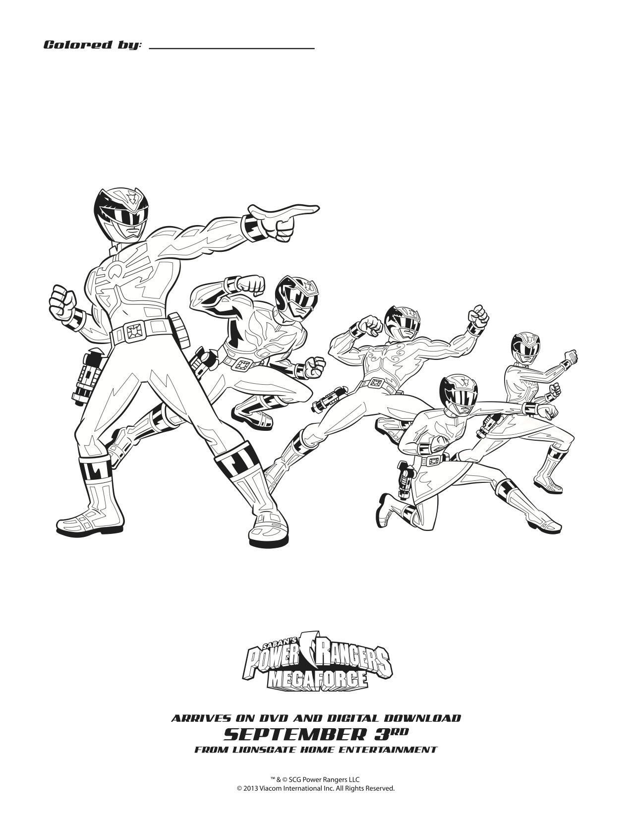 Coloring pages for power rangers - Power Rangers Megaforce Printable Coloring Sheet