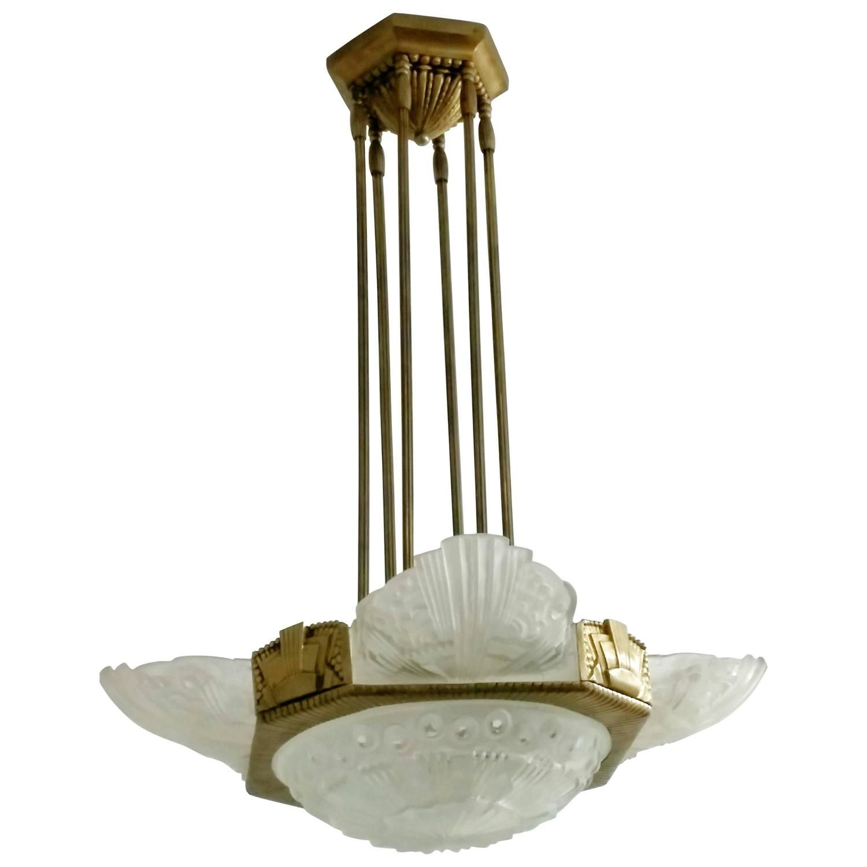 French art deco chandelier by georges leleu art deco chandelier french art deco chandelier by georges leleu arubaitofo Images