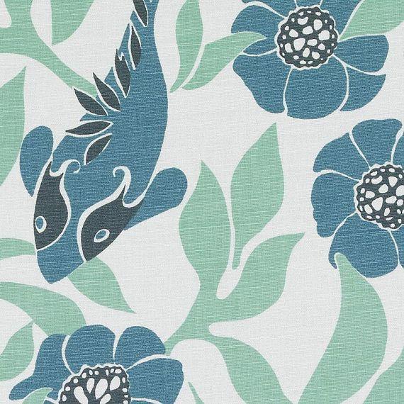 Teal Blue Linen Drapery Fabric Bird Design Curtain Fabric Teal