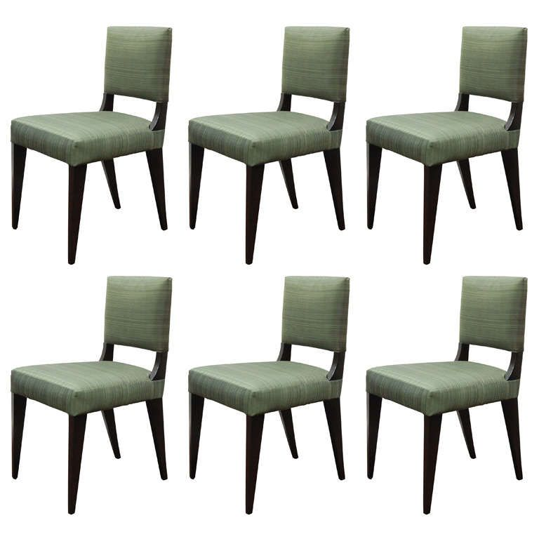 Set Of Six Custom Dining Chairs Upholstered In Horsehair
