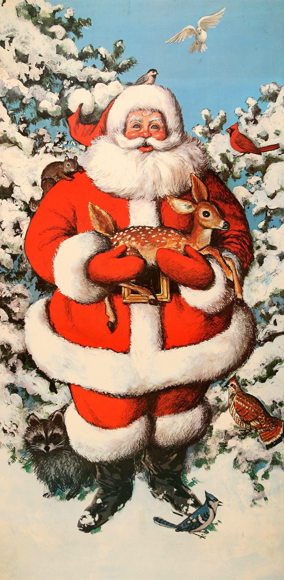 Santa Claus With Deer Postergroup Original Vintage Posters Vintage Christmas Merry Christmas Vintage Santa Paintings
