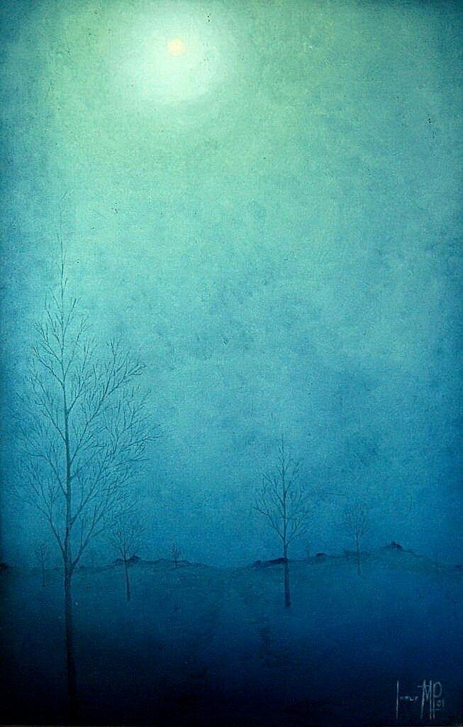 La vereda bajo la luna. Oleo sobre tela. 2001. Jesús Martínez.