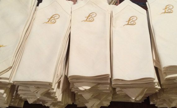 Bulk Monogrammed Wedding Napkins / by WhiteTulipEmbroidery on Etsy, Custom Wedding Napkins