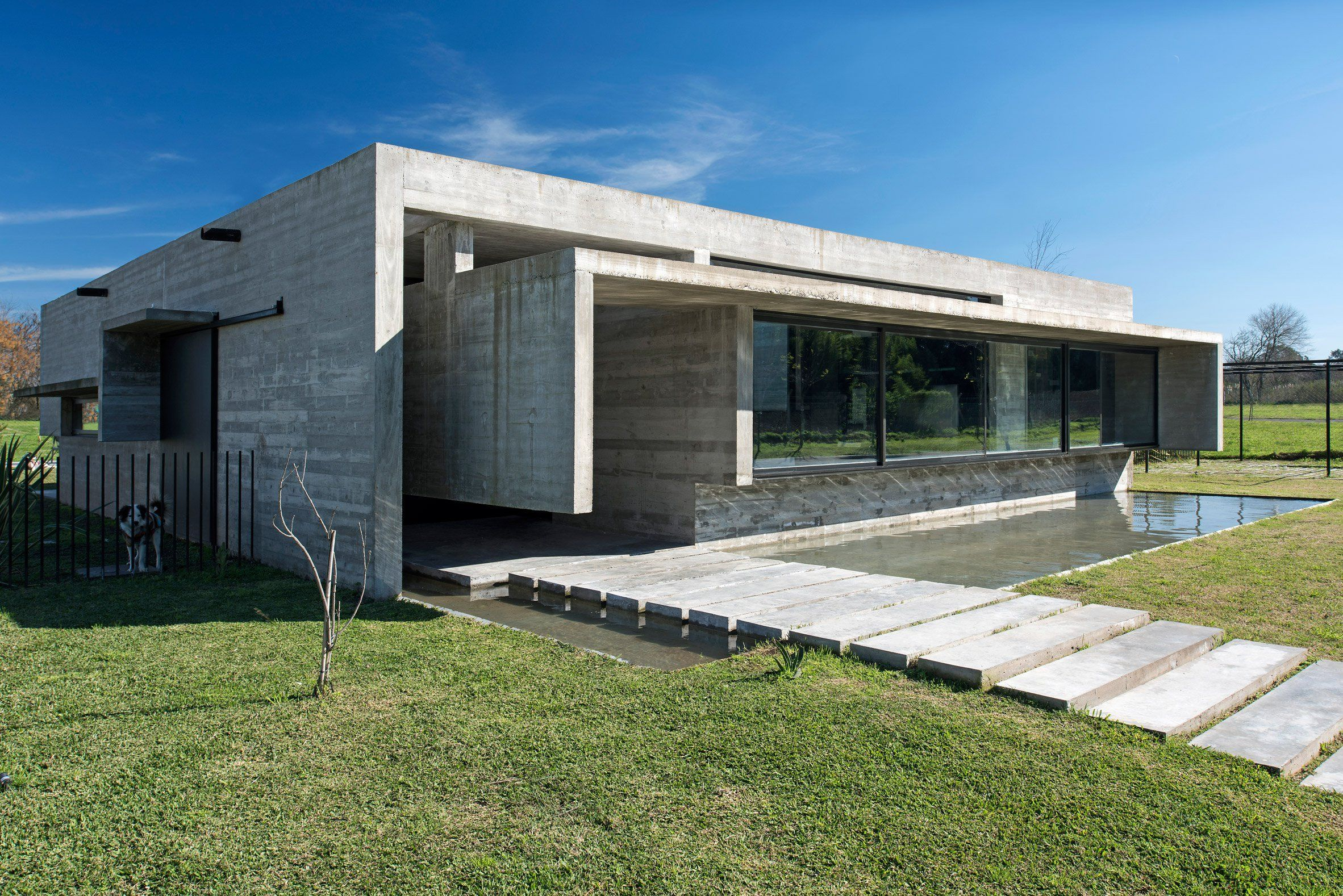 reflecting pool fronts linear concrete house in argentina by luciano