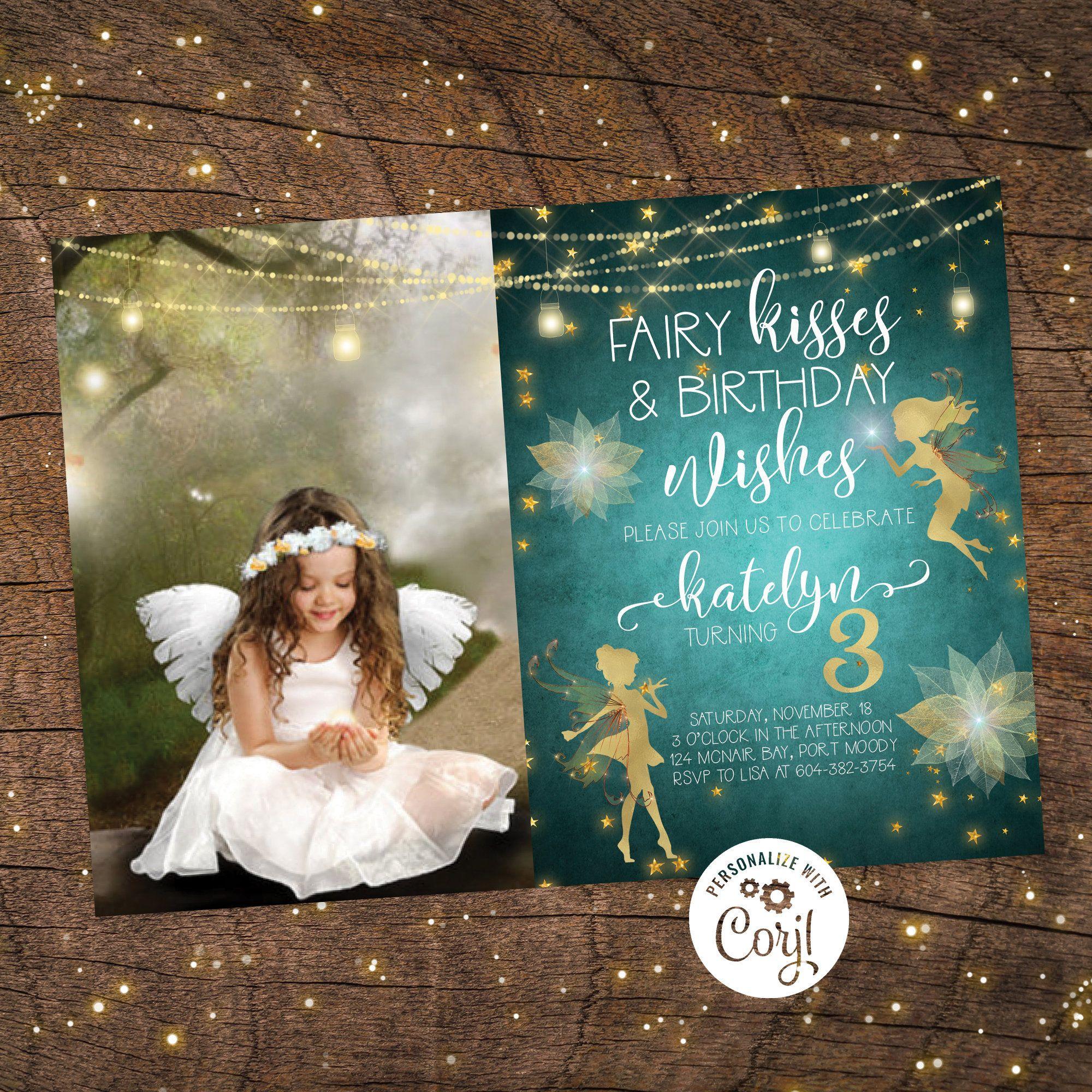 Enchanted forest invitation corjl fairy birthday
