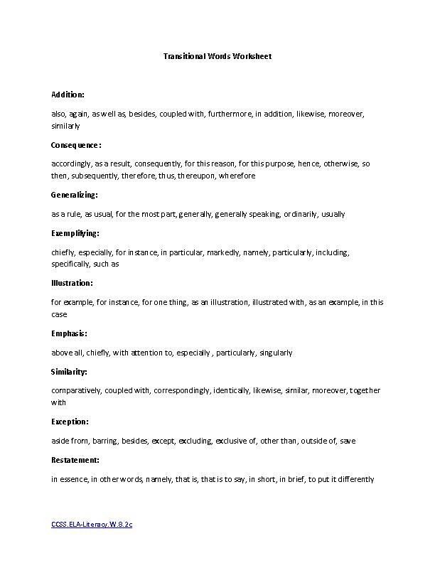Gilman Scholarship Essay Transitional Words Ela Literacywc Writing Worksheet Persuasive Essay Speech also Essay Myself Transitional Words Ela Literacywc Writing Worksheet  Writing  Example Of Essay With Thesis Statement