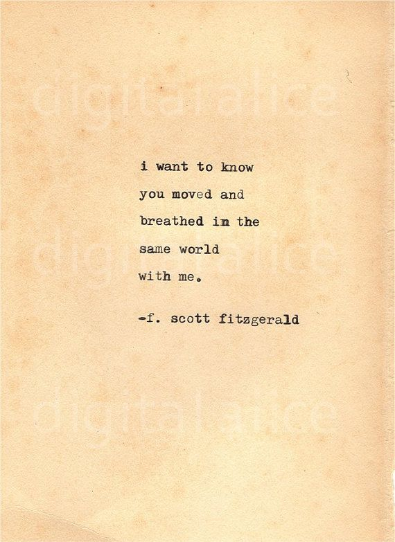 VINTAGE TYPEWRITER PRINT f Scott Fitzgerald Quote -Wall Art Instant Download-I wish I had done everything on earth with you  no. 24