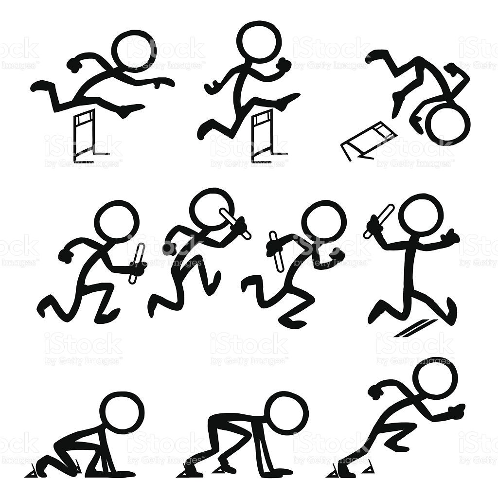 Stickfigure at the Olympics running Sprinting baton relay hurdles