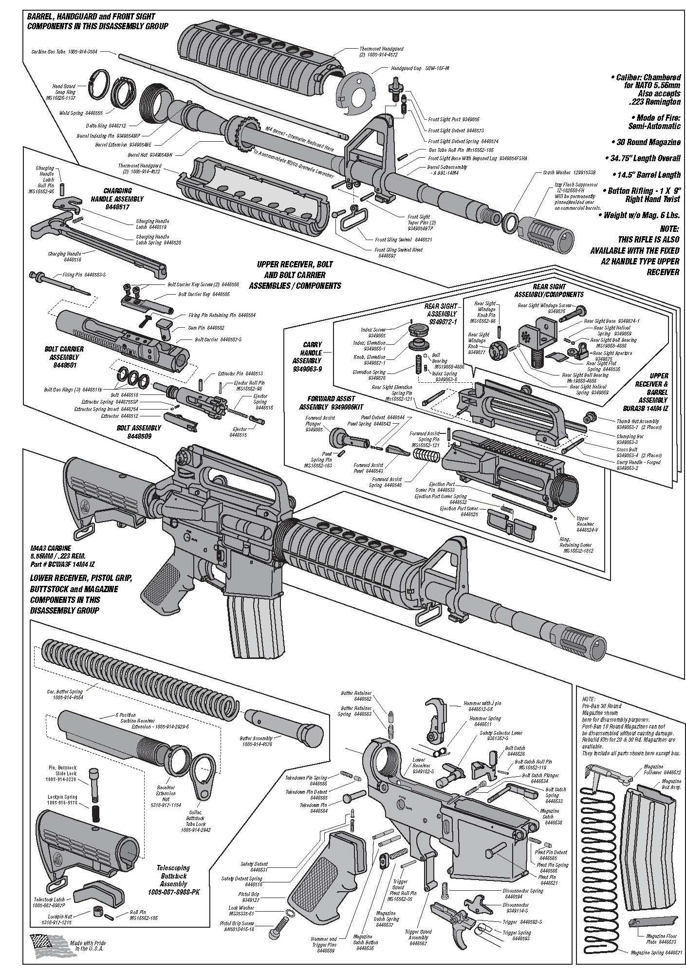AR Schematic | Technical Drawings & Cutaways | Guns