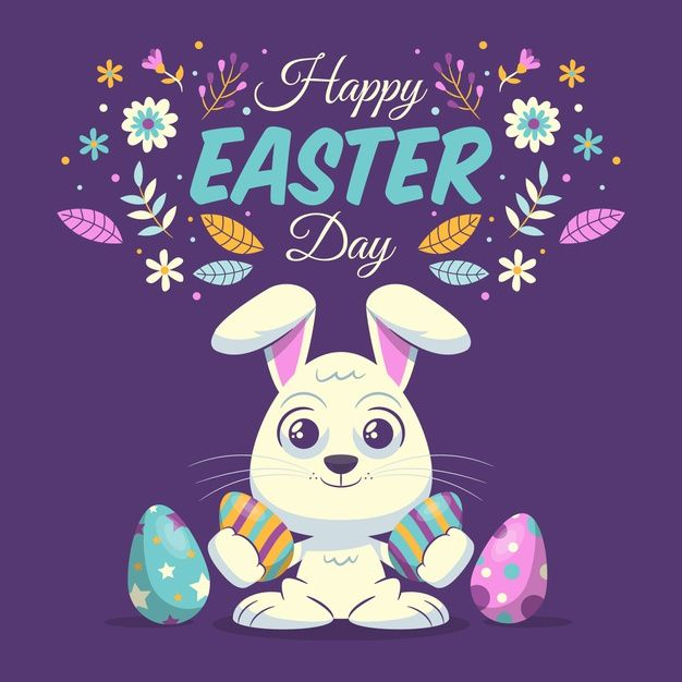 Happy easter day in flat design Free Vec  Free Vector