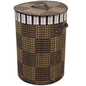 Ore International 19 5 In Tall Bamboo Round Laundry Basket Brown And Espresso Checker Print Fin Laundry Basket Laundry Hamper Wicker Laundry Hamper