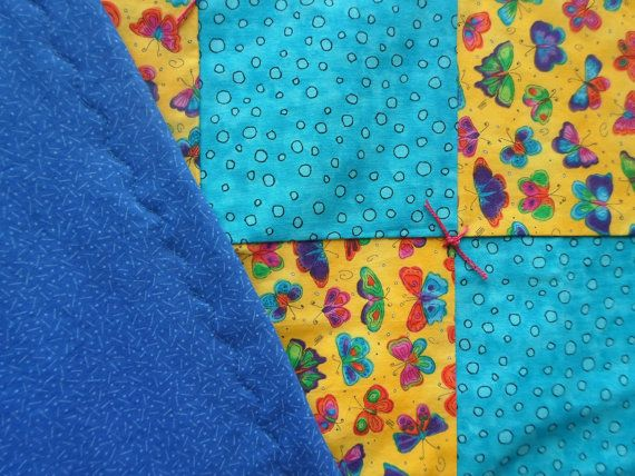 Baby/Toddler Quilt Bubbles & Butterflies by 5thAveFibers on Etsy, $60.00
