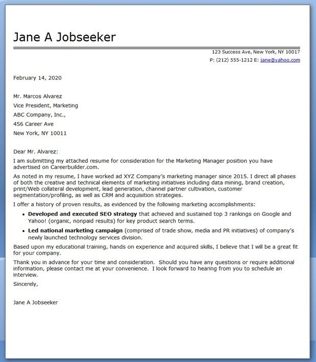 marketing communications manager cover letter sample creative