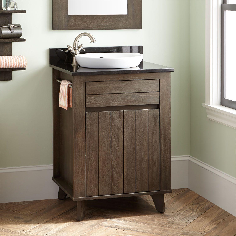 "24"" Antioch Teak Vanity for Semi Recessed Sink Dark Gray Wash"