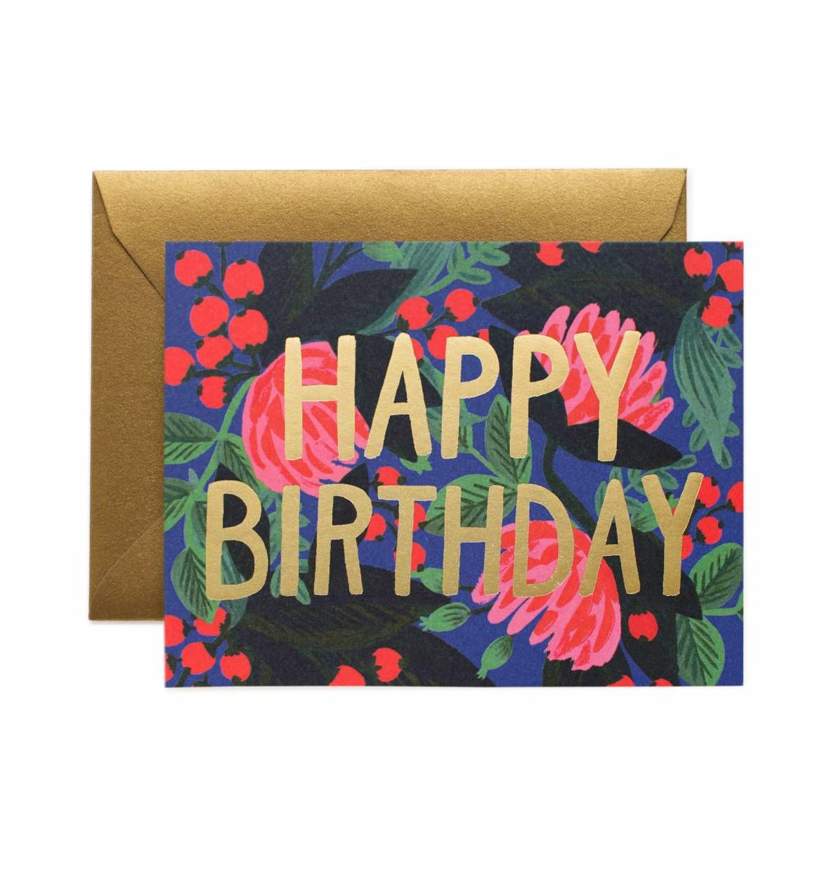 Floral Foil Birthday Available As A Single Folded Card Or Boxed Set