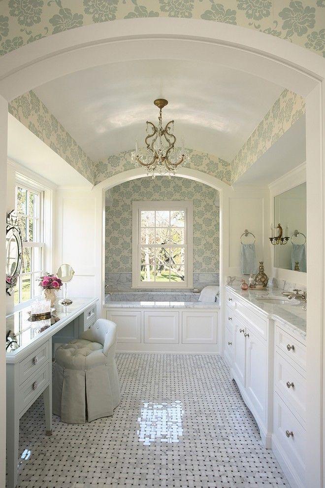 Mirrored Cabinet Doors Kitchen Contemporary with Nickel Faucets - kronleuchter für badezimmer