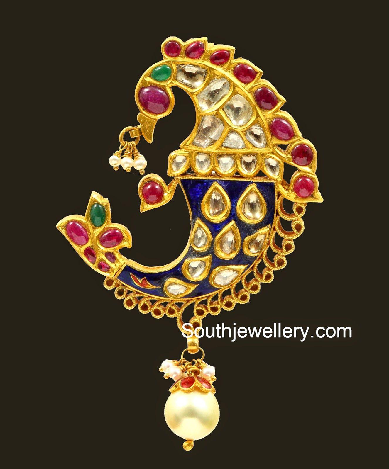 kundan peacock pendant jewellery Pinterest