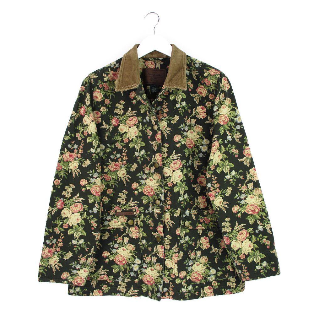 fd620694e422d Ralph Lauren Jeans Denim Jacket Large L Womens Shabby Floral Barn Coat  Corduroy  LaurenRalphLauren  BasicJacket  Casual