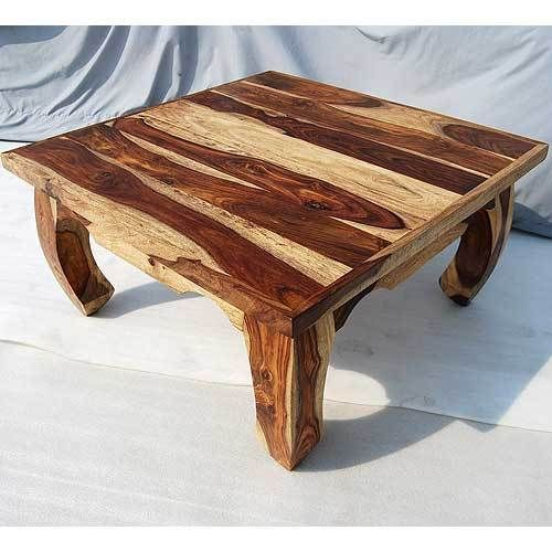 Solid Wood Rustic Sofa Cocktail Square Coffee Table Living