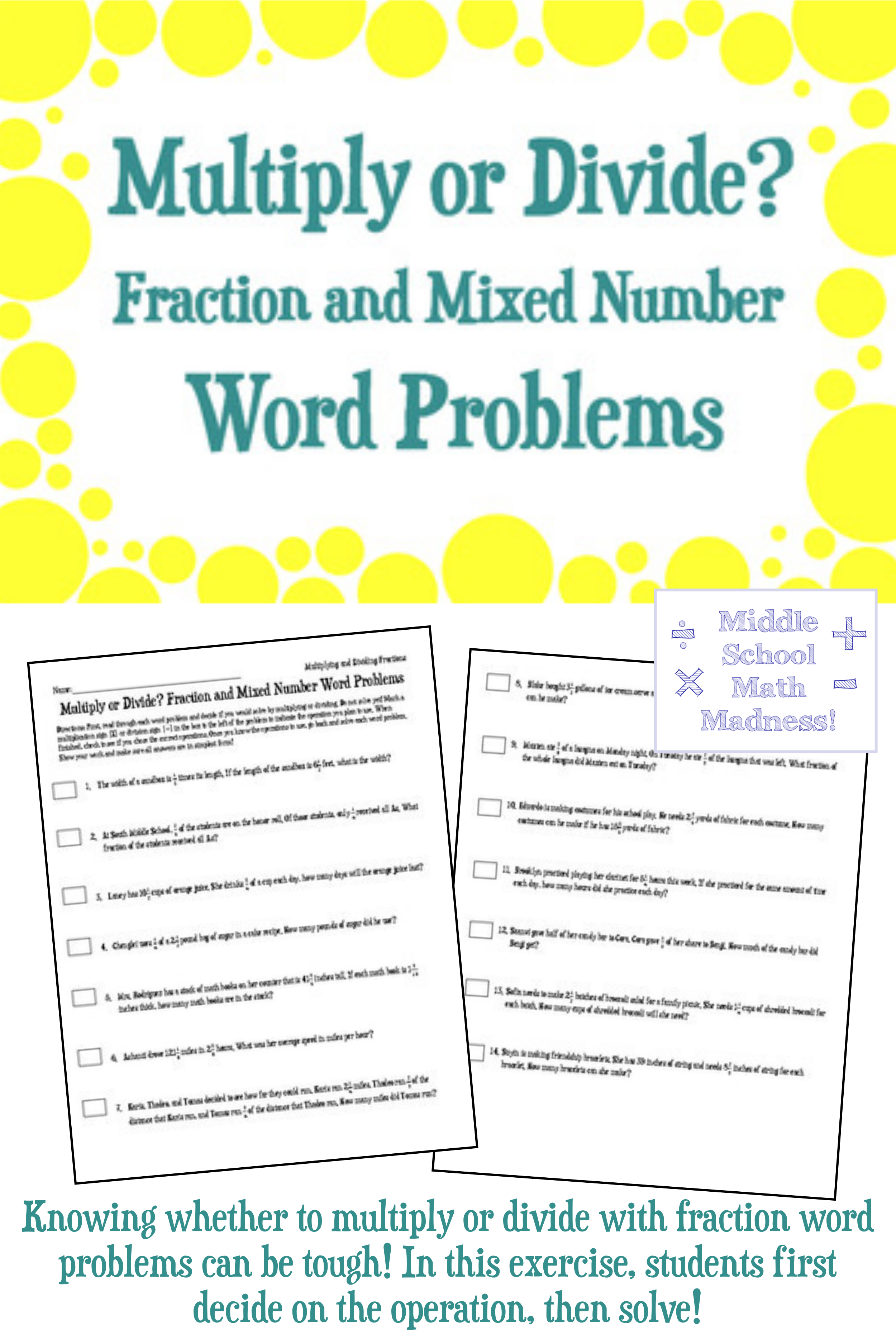 Multiply Or Divide Fraction And Mixed Number Word