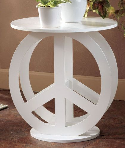 Peace Sign Bedroom Accessories: Wooden White Peace Sign Side Table Tween Bedroom Hippie