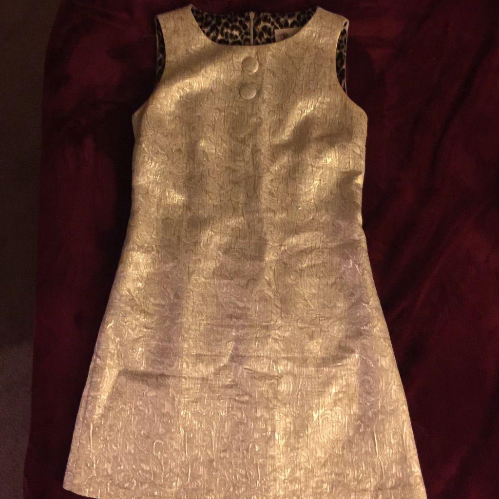 Cream color short metallic gold dress metallic gold dress