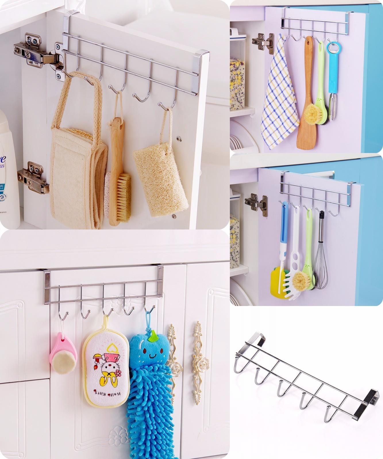 [Visit To Buy] Stainless Steel Bathroom Kitchen Organizer Hanger Hooks With  Towel Hat Coat Clothes Cabinet Draw Door Wall Hooks