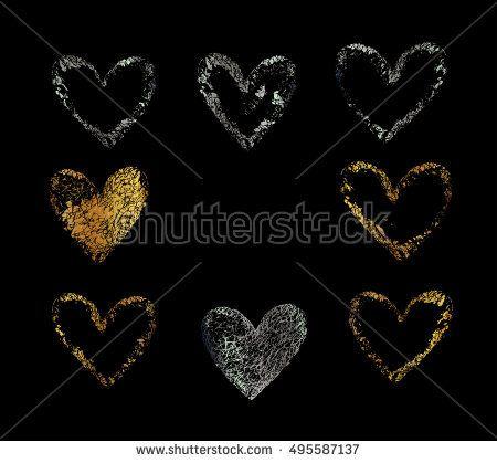 gold silver vector heart golden set of the hand drawing hearts isolated on black