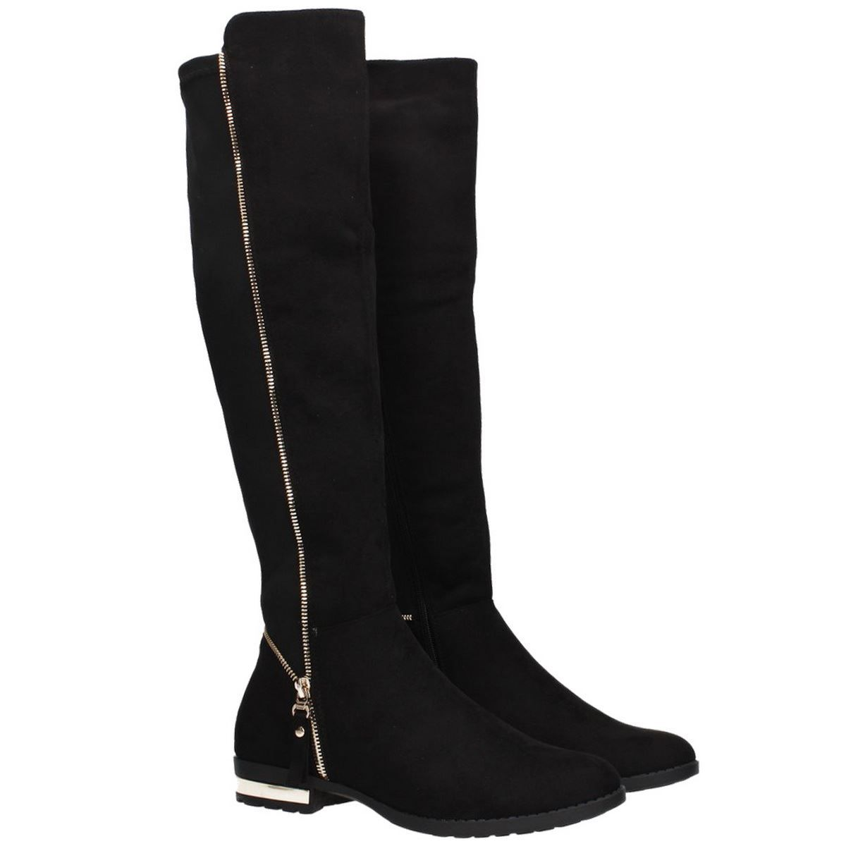 WOMENS LADIES NEW STRETCH OVER THE KNEE BOOT GOLD ZIP LOW HEEL SHOES BOOTS SIZE