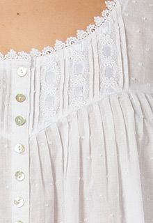 Eileen West Cotton Nightgown White Swiss Dot Cotton Lawn 100