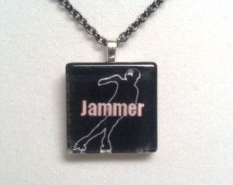 Roller Derby Jammer Necklace - Glass Tile Necklace