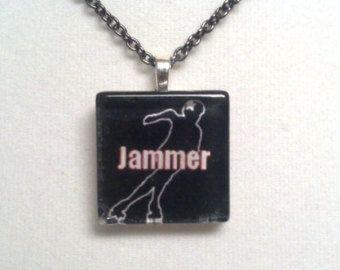 Roller Derby Jammer Necklace - Glass Tile Necklace