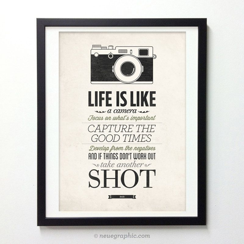 Life Is Like A Camera Vintage Style Typography Inspirational Quote Poster By Neuegraphic On Etsy
