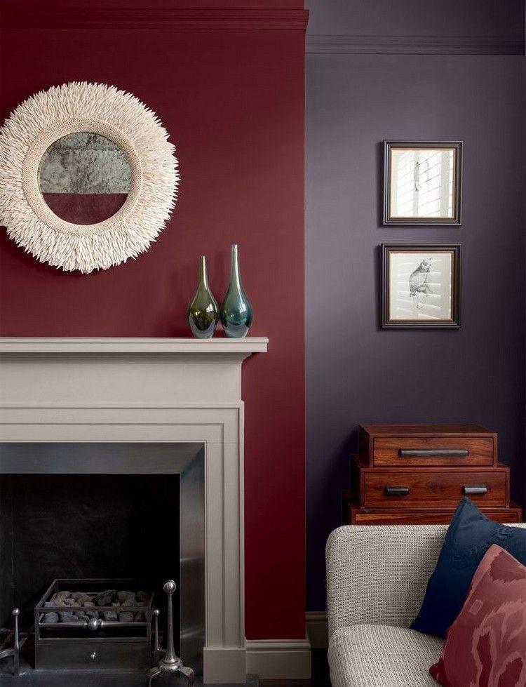Hochwertig Dunkelrot Und Dunkellila Als Wandfarben Für Wohnzimmer