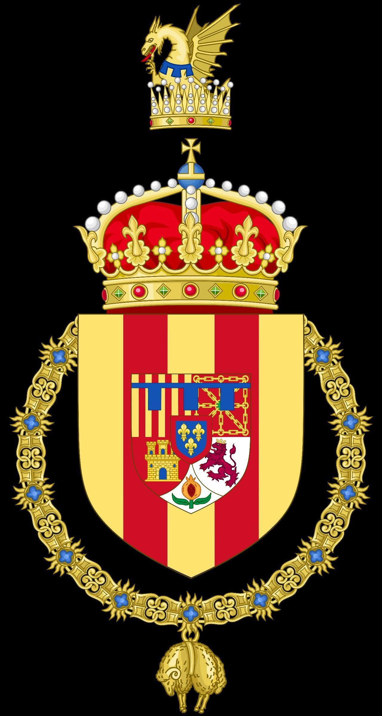 Escudo De Armas De La Princesa Dona Leonor Como Princesa De Girona Escudo De Armas Escudo Los Reyes De Espana