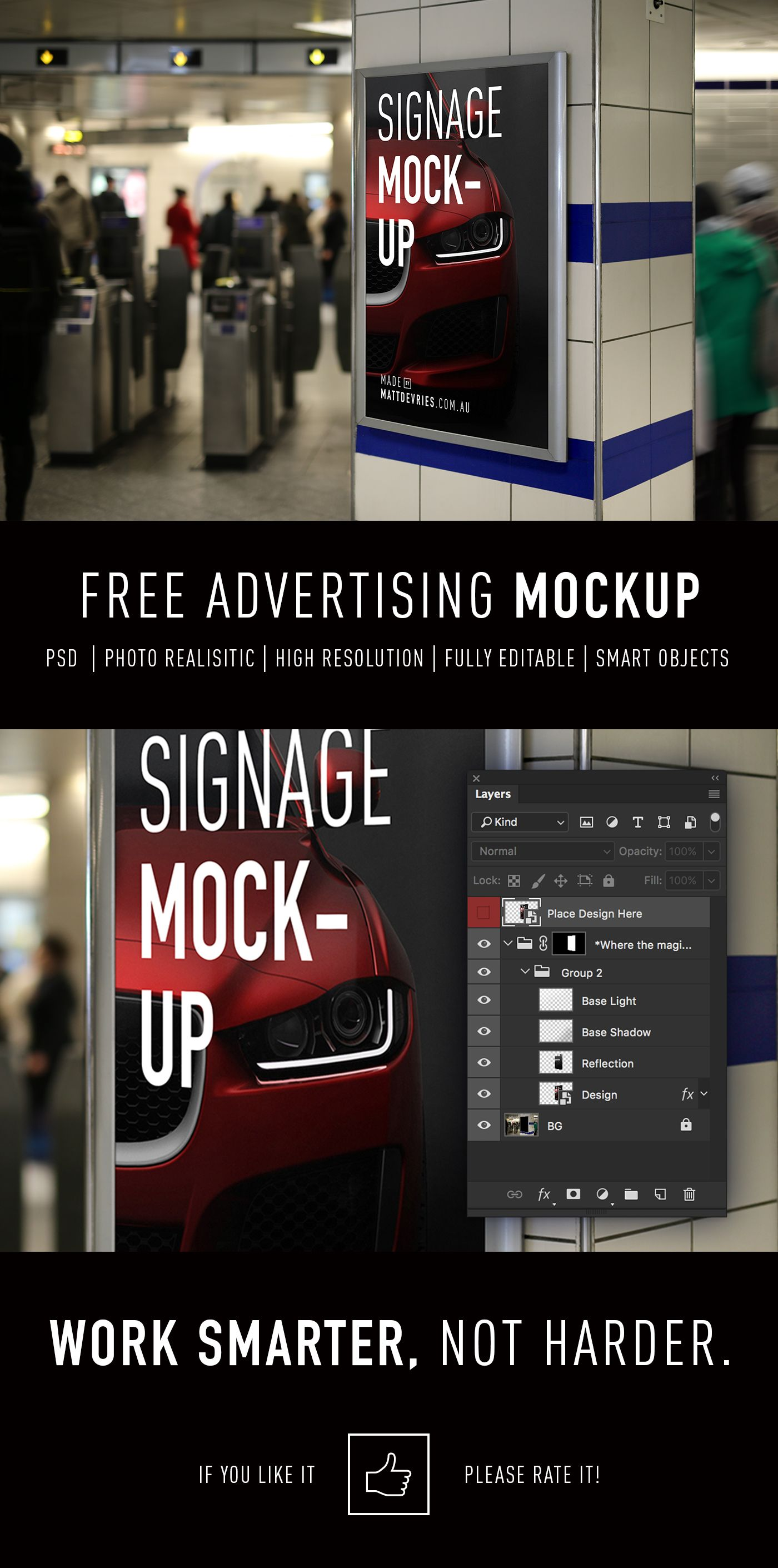 free smart advertising signage psd template mockup on behance