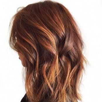 Beautiful Copper And Gold Balayage Highlights And Long Bob With