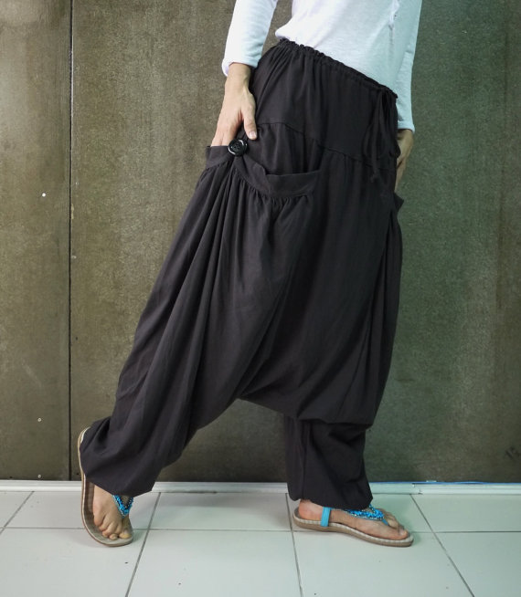 b44f178e1e2 PLUS SIZE - Boho Gypsy Funky Hippie Ninja Harem Stylish Casual Light Weight  Dark Charcoal Stretch Cotton Men Women Pants - P011