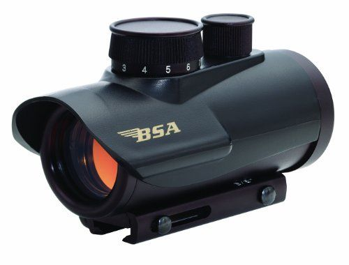 BSA 30mm Red Dot Scope with 5 MOA by BSA Optics. $29.51. The BSA Multi-Purpose sighting systems are a wonderful lightweight sight for close quarter and medium range targets. Light enough for small calibers, plinking on the range, yet durable enough for larger calibers used by hunters and law enforcement departments. The 5/8-3/8 adjustable mounting system is perfect for shotguns, rifles, pistols, bows and crossbows. You can adjust the brightness of the dot, depend...