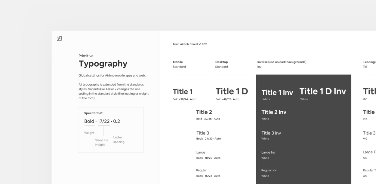 Working Type Airbnb design, Design system, Typography