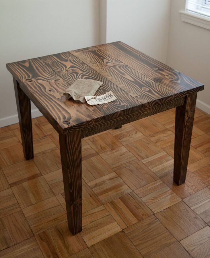 Small square farmhouse table Solid wood dark walnut table for