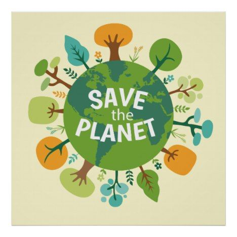 Save The Planet Earth Illustration Poster Zazzle Com Earth