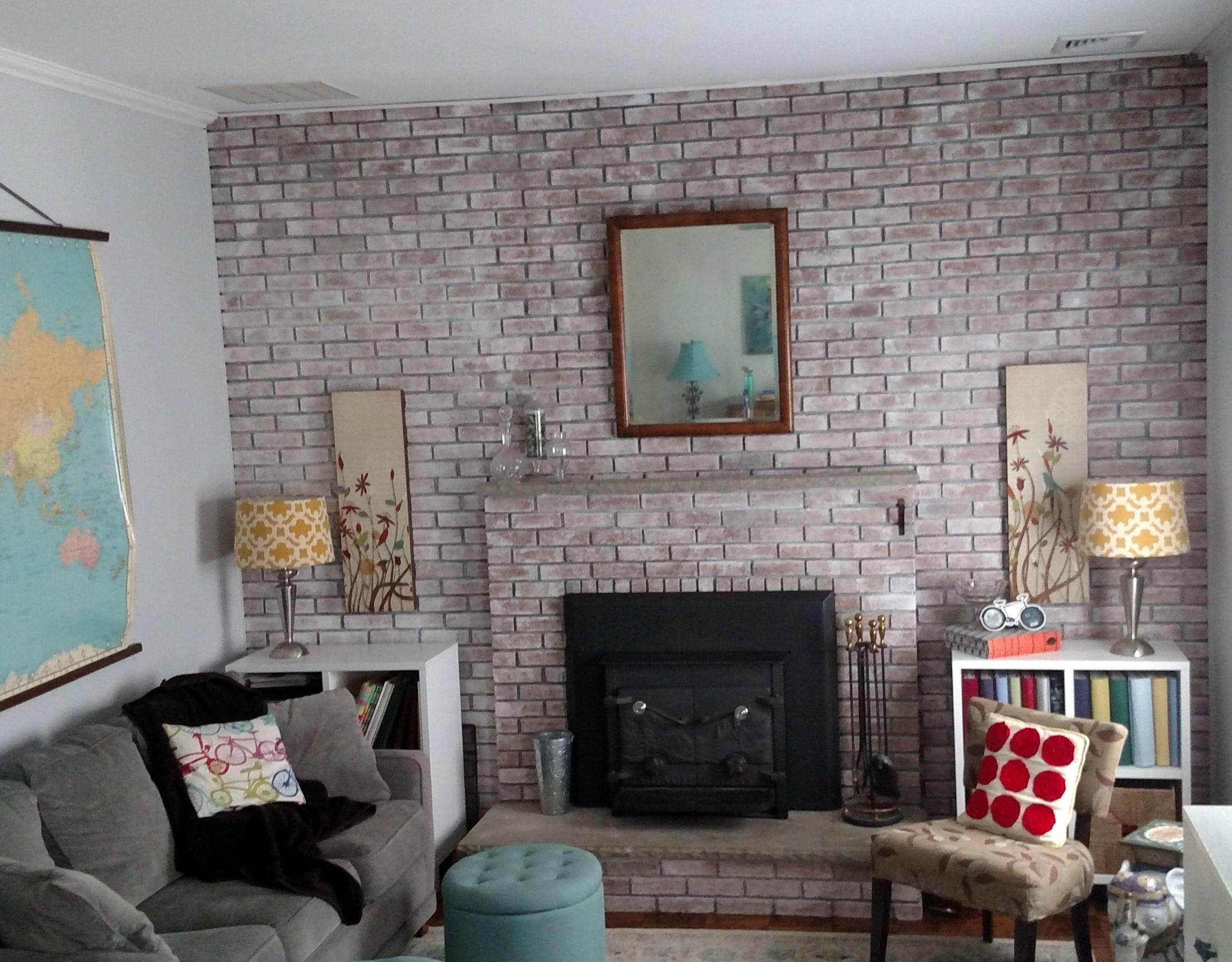 Farmhouse inspired whitewash brick fireplace wall white