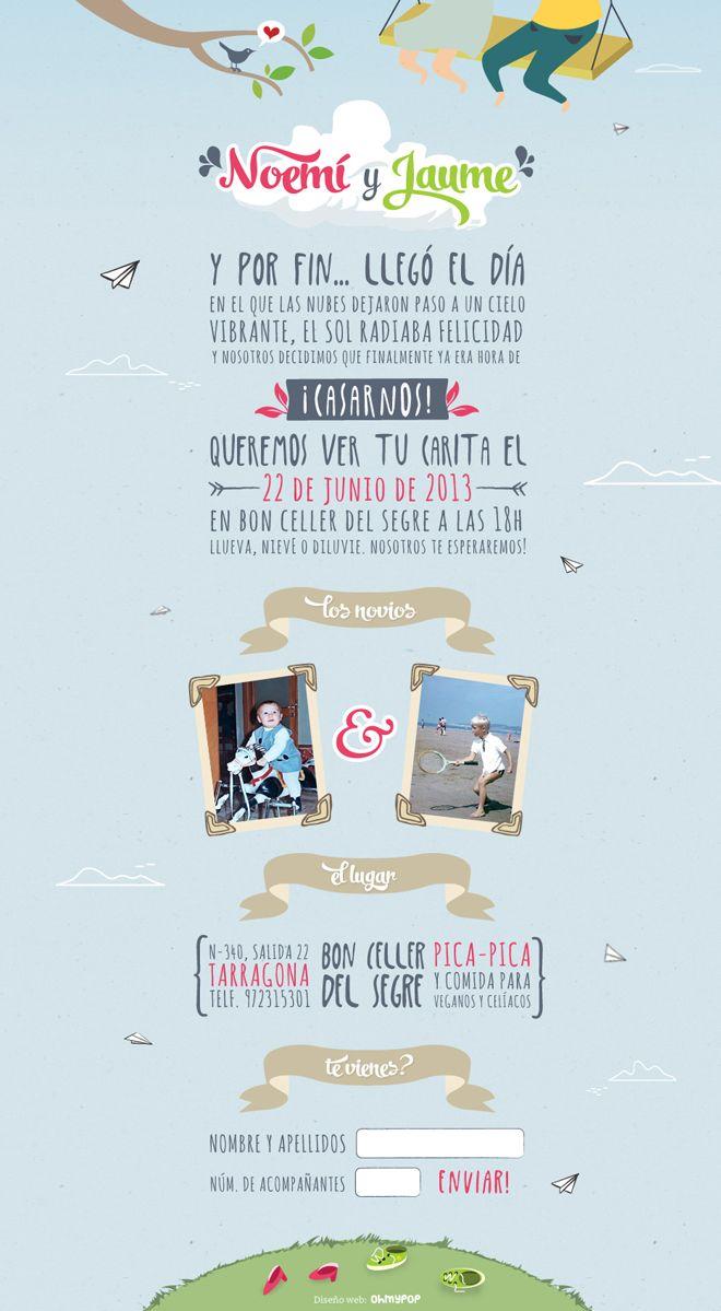 Página web Invitaci³n de boda Amor en las nubes line wedding