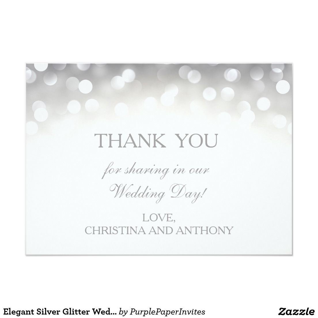 Elegant Silver Glitter Wedding Thank You Note Card Silver Wedding