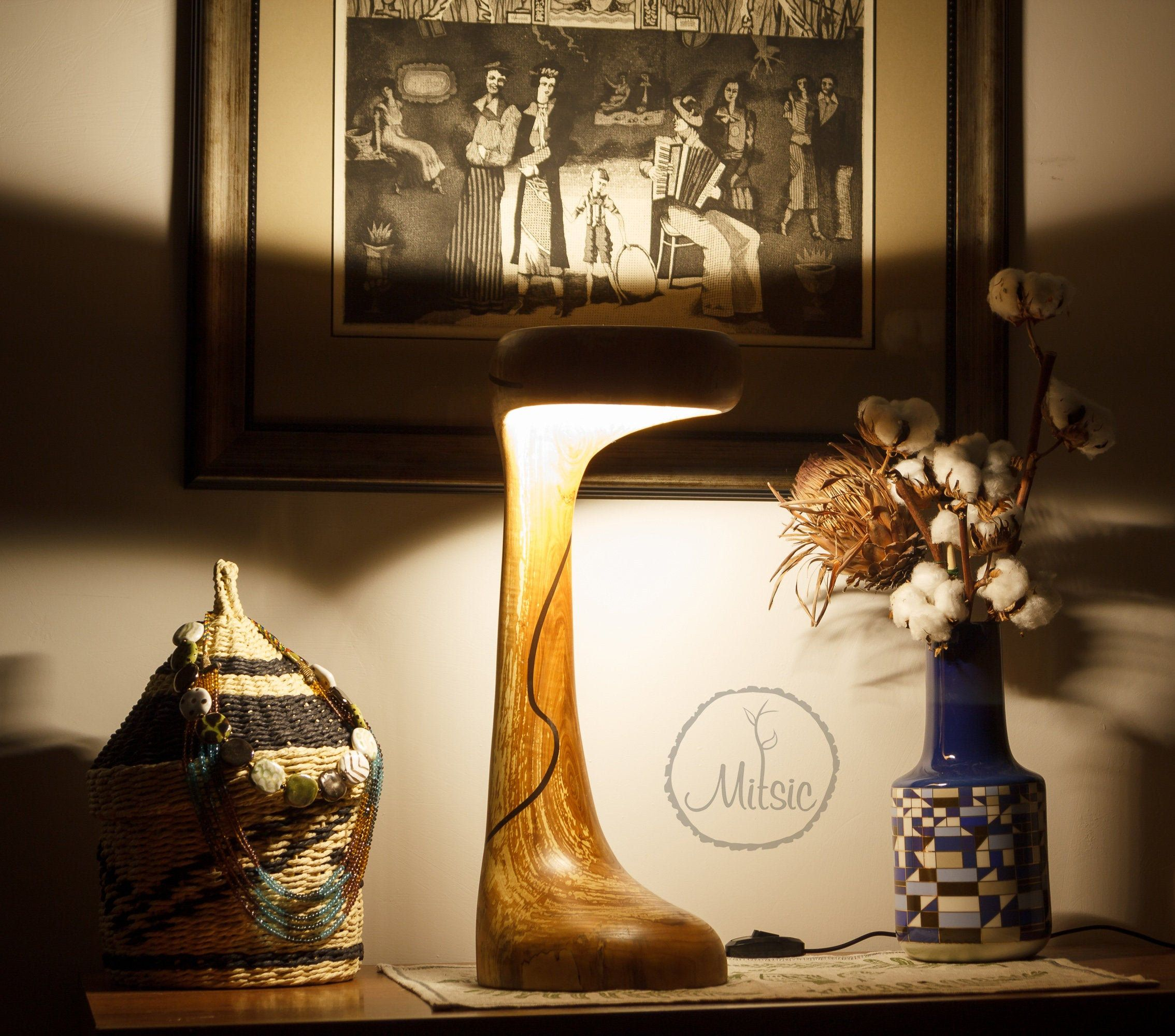 Wooden LED lamp. Tree branch lamp. Natural wood lighting