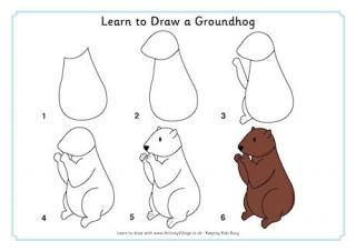 Dessin De Marmotte how to draw a groundhog for kids | learn to draw a groundhog