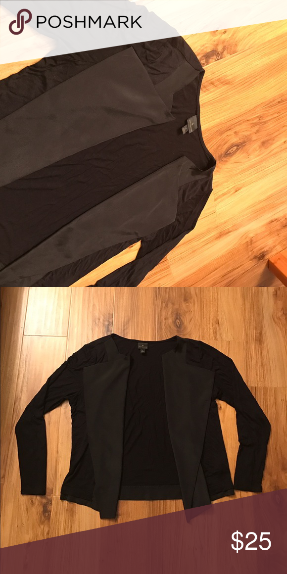 ⭐️Worthington Top⭐️ Women's Worthington Black Flyaway Cardigan. Great layering piece and an essential to have in a wardrobe.  Silky material near the collar, super soft, and it's like new! I have worn it a little bit, however there are no tears. Only needs to be ironed. (P.S. Lay flat to dry! 💕) Worthington Tops
